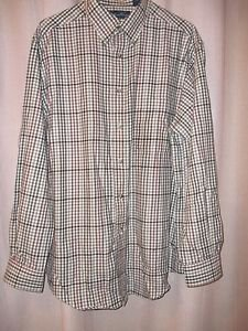 Weathered Casuals Men's Shirt Large Brown Checked  100% Cotton Long Sleeve