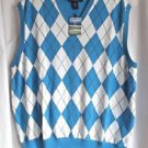 Men's Golf Vest Oxford Golf XL 100% Cotton Blue and White Knit  New With Tags