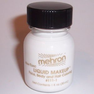 Theatrical Makeup Body and Hair Mehron Liquid Makeup 1 oz   White Water Washable