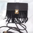 Cross Body Woman's Purse  Black Fringe Faux Leather Lattice Flap