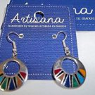 Mosaic Earrings Fair Trade Handmade Woman Artisans Mexico Handcast Silver