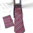 Men's Tie Gift Set Tie Cufflinks Dress Tie Stripes Red Pink Black polyester