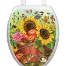 Toilet Tattoos Autumn Basket Vinyl Seat Lid Cover Sunflowers Reusable