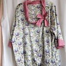 Woman's Top Downton Abbey 2X Polyester 3/4 Sleeves Purple Green White Print