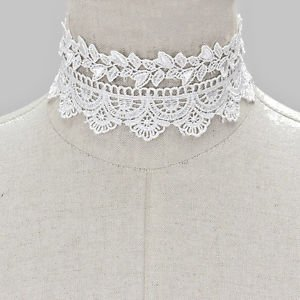 Choker Necklace Jewelry Lace Two Piece White  Attachment Chain Gold