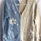 Ugly Christmas Sweater VTG Blue Long Sleeve Cardigan Medi Christopher & Banks