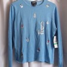 Ugly Christmas  Blue Dress Sweater VTG Large Cotton and Rayon Large Holiday