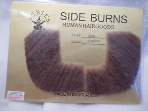 Side Burns Light  Brown Human Hair Professional Theatrical Rubies 2019