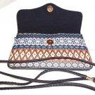Cross Body Purse Black Fringe Tassles Native Look Fabric Sophia Handbag