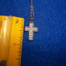 "Necklace Rhinestone Christian Cross 1/2"" Silver Plate 16-18"" Long"