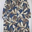 Pierre Cardin Hawaiian Shirt Men's Extra Large  Blue Leaves  Cruise Wear