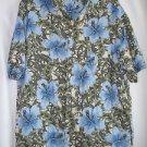 Ocean Pacific Hawaiian Shirt Men's Large Blue Hybicus Cruise Wear