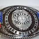 Police Officer  Belt Buckle Black Silver Tone Oval American Flags