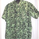 Hawaiian Newport Blue  Luau Shirt  Large 100% Cotton  Black and Green Sharp