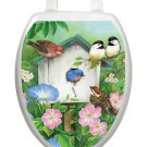 Toilet Tattoos Toilet Seat Lid Decor Blooming Birdhouse Decor Blue Vinyl 1075