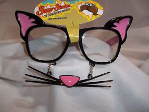 Sun Stache Cat Kitten With Whiskers Pink and Black Add to your Cat Costume