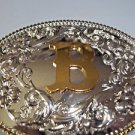 Belt Buckle Initial B Silver Oval Gold B Elegant