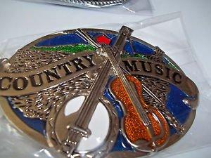 Country Music Guitar Banjo  Belt Buckle Black Silver Tone Enameled