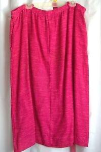 "Woman's Skirt Rose with Belt 40"" Waist Rayon Cotton Flax USA Made Vtg"
