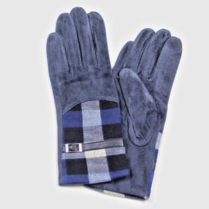 Woman's Gloves Fleece Lined Navy Blue Checked Wool Acrylic Warm Gift