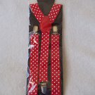 Suspenders Red with White Dots Braces   Adjustable Clip On