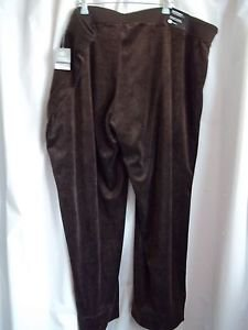 Avenue Velour Collection Woman's Pants Size 26/28 Chocolate With Tags