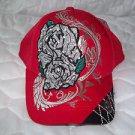 KB Ethos Red Rhinestone Cap Great Bling Hat Adjustable