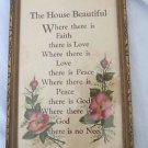 "Vintage Wall Hanging 6 3/4"" x 10 3/4 "" Gold Frame The House Beautiful"