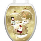 Toilet Tattoos ChristmasToilet Lid Cover Vinyl Cover Snow Globe