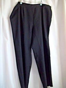 R & K Woman's Pants Black 22 W Polyester Elastic Waist and Zipper Close