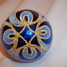"Christmas Tree Ornament Blue Blown Glass Gold Hand Painted 3"" Round"