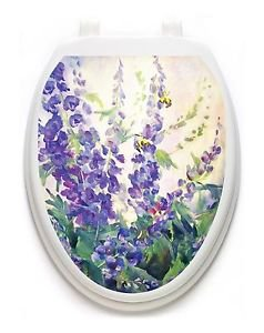 Toilet  Tattoos Purple Garden Vinyl Lid Cover Decor Reusable Decoration