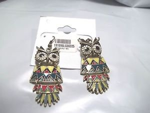 Owl Earrings Gold Tone Red Yellow Blue Black Three Part Dangle Adorable French H