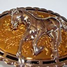 Horse Belt Buckle Gold and Silver Tone Oval Raised Palamino