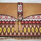 Cross Body Purse Tan & Yellow  Fringe Tassles Native Look Fabric Sophia Handbag