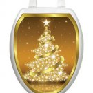 Toilet Tattoos Christmas Toilet Lid Cover Vinyl Cover Golden Tree