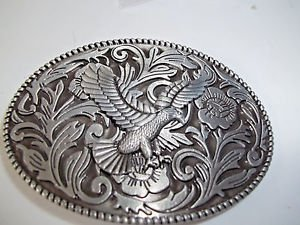 Eagle  Belt Buckle Black Silver Tone Oval Raised Bald Eagle