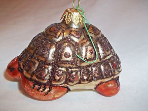 Blown Glass Turtle Christmas Tree Ornament Brown and Gold Hand Painted