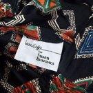 Laura Kieffer Skirt Long Vtg Black with Print Elastic Waist 34 to 40 Rayon