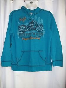 Route 66 Shirt Hoodie Long Sleeve XL 14-16 Teal Cotton