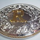 Belt Buckle Initial R Silver Oval Gold R Elegant