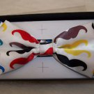 Bow Tie White  Mustaches Polyester 4 3/4 Adjustable Hook and Clip Boxed
