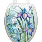 Toilet Tattoos Lid Decor Iris Beauty Dragonfly Blue & Lavender Reusable 1014