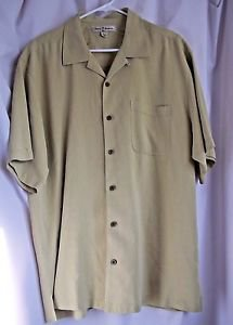 Tommy Bahama Shirt Authentic Large Short Sleeve 100% Silk Large Light Green