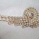 Rhinestone Brooch Gaudy Gold Backed
