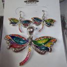 Draqonfly Earrings and Pendent Rainbow Silvertone French Drop Earrings Gift Box