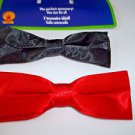 Bow Tie Narrow Black or Red Gangster 40's Frankie Polyester Easy Clip On Accesso