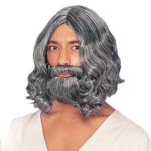 Biblical Wig and Beard Grey Deluxe Quality Washable King Shepard Joseph