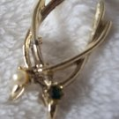 Wishbone Boach or PinVintage Double  Green Stone and Pearl Gold Plated
