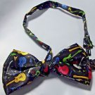 "Bow Tie Guitar Theme 4 3/4"" x 3"" Polyester Bowtie Free Gift Box Hook and Clip"